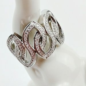 925 Silver Large Chunky Tangle CZ Statement Ring